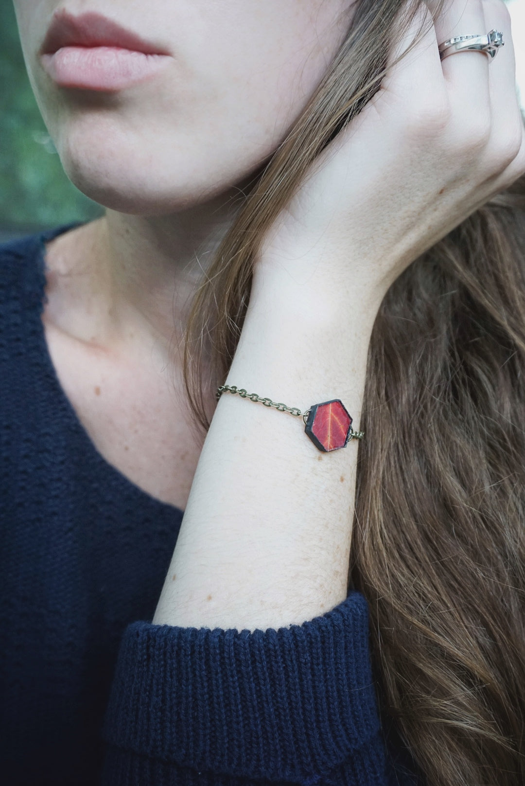 Red Autumn Leaf Hexagon Bracelet
