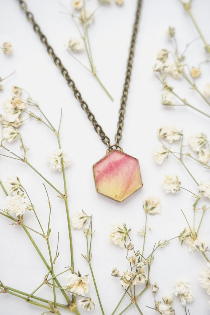 Pink Rose Hexagon Necklace