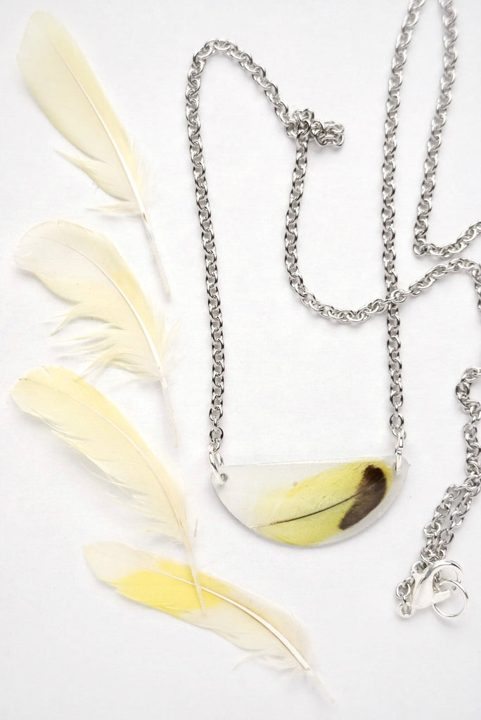 Yellow Parakeet Feather Necklace