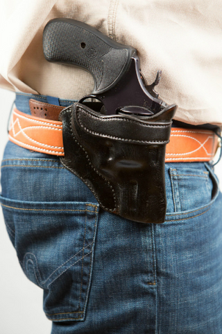 leather revolver gun hip holster concealed