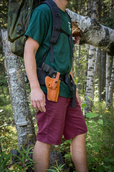 Hip Holster while wearing a backpack