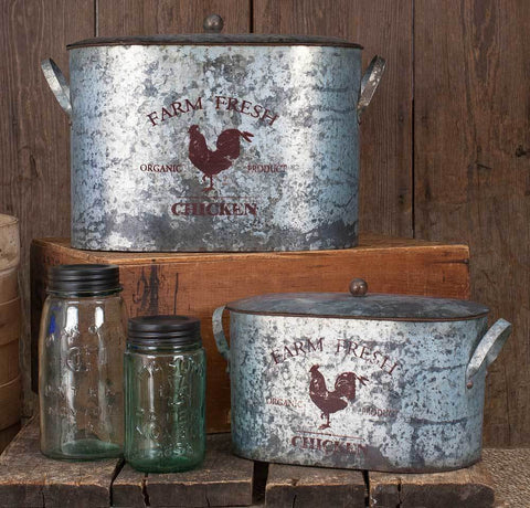 Galvanized Storage Tubs w/ lids - Set of Two