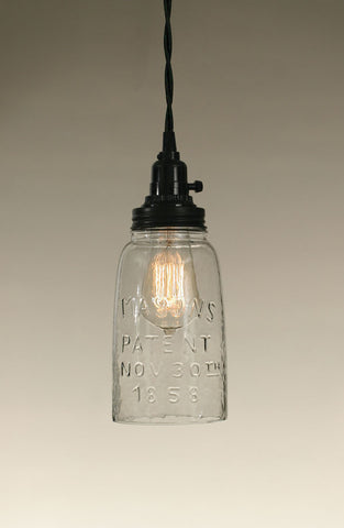 Half Gallon Mason Jar Pendant Lamp - Clear Glass