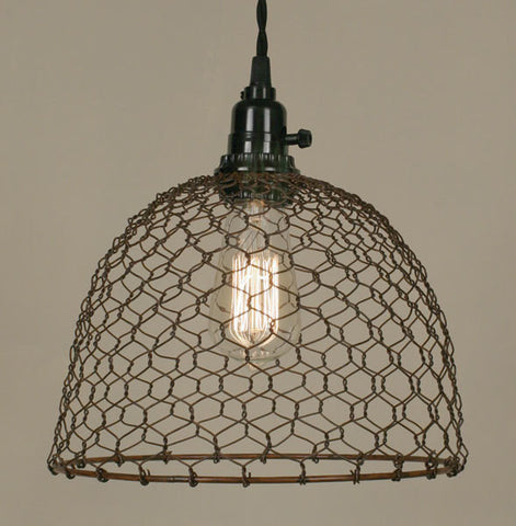 Chicken Wire Dome Pendant Lamp