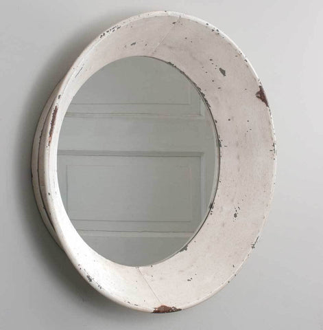Vintage Round Wall Mirror (Cream)