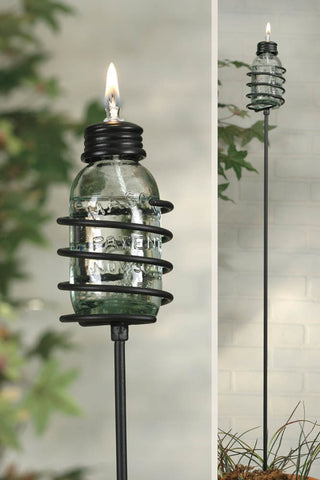 Mini Mason Jar Oil Lamp Garden Stake