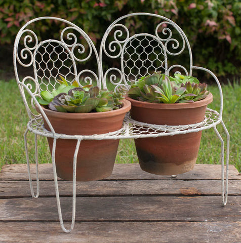 Garden Bench and Pots