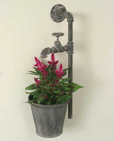 Industrial Water Spigot Wall Planter