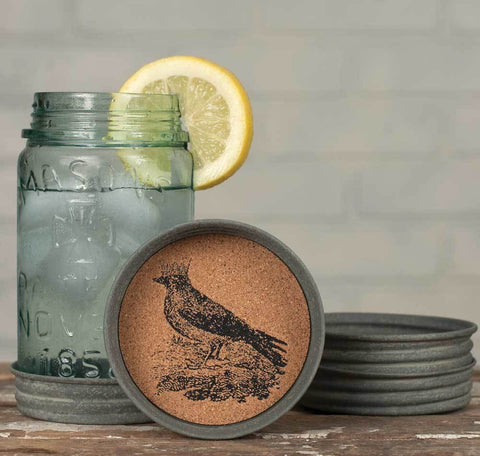 Crow with Crown Mason Jar Lid Coasters - Set of 4