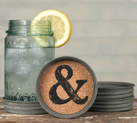 Ampersand Mason Jar Lid Coasters - Set of 4