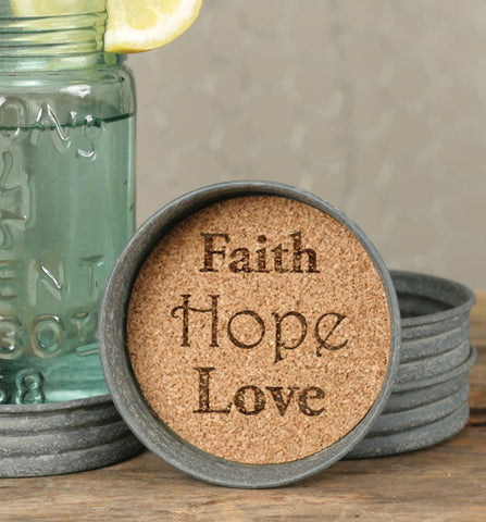 Faith/Hope/Love Mason Jar Lid Coasters - Set of 4