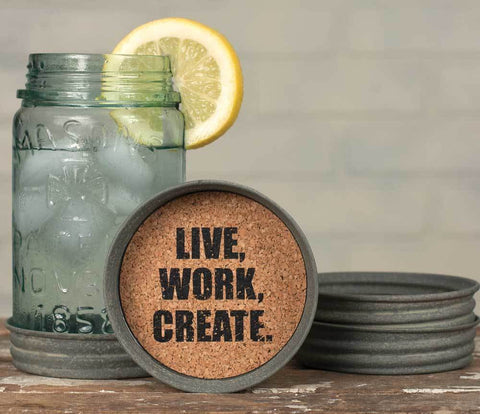 Live/Work/Create Mason Jar Lid Coasters - Set of 4