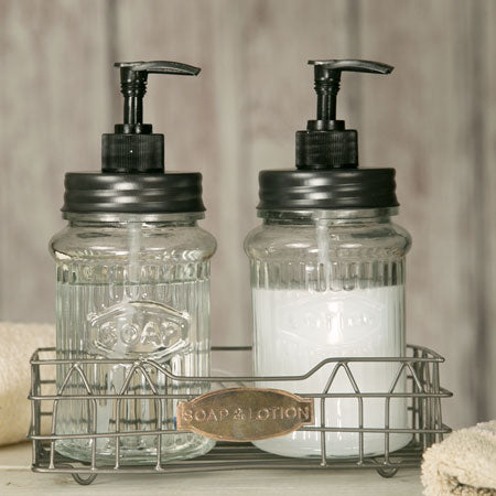 Hoosier Soap and Lotion Dispensers w/ Caddy