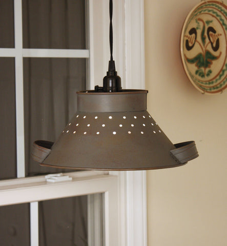 Rusty Grey Pendant Colander Light