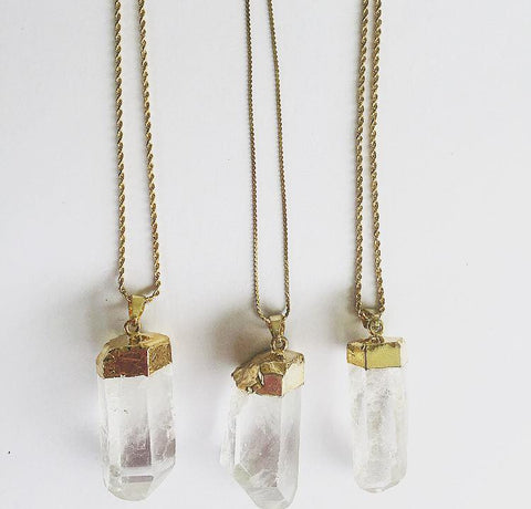 Crystal Quartz Necklace (Gold)