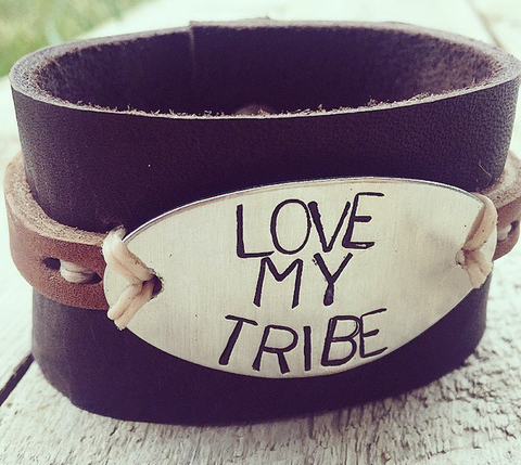 """Love My Tribe"" Leather Cuff"