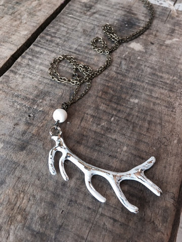 Silver Antler Charm Necklace
