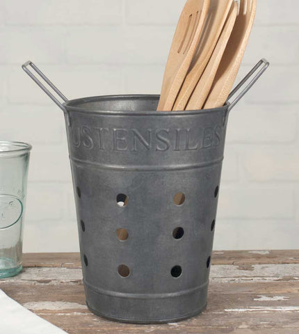 Rustic Metal Utensils Caddy