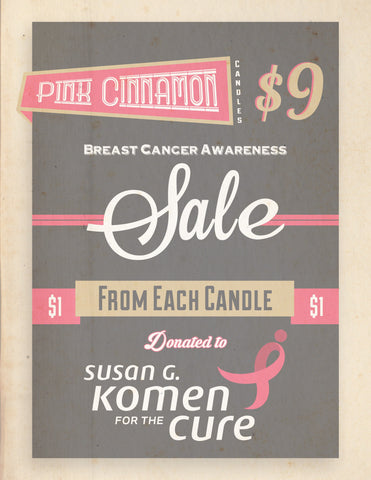 """Pink Cinnamon"" Breast Cancer Awareness Soy Candles"