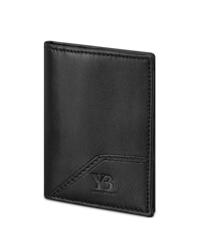 Black Italian Leather Thin Wallet