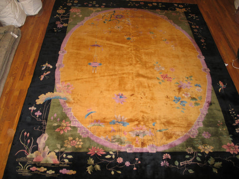 "Art deco chinese yellow oriental rug 8'9""x11'4"" - Soheil Oriental Rugs"