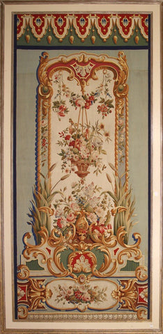 Pair silk framed French abouson 6x12 As tapestry