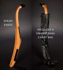 folding wood guitar stand fits inside the included drawstring carry bag