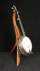 banjo on bubinga and curly maple wood folding banjo stand