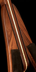 morado pau fero Bolivian rosewood and curly maple premium folding ukulele stand front detail view