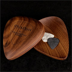 guitar picks in a walnut wood standard pick dish tray front view and back view