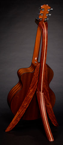 Taylor acoustic guitar on bubinga folding solid wood guitar stand rear view