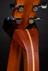 sapele and curly maple wood guitar stand rear detail of yoke