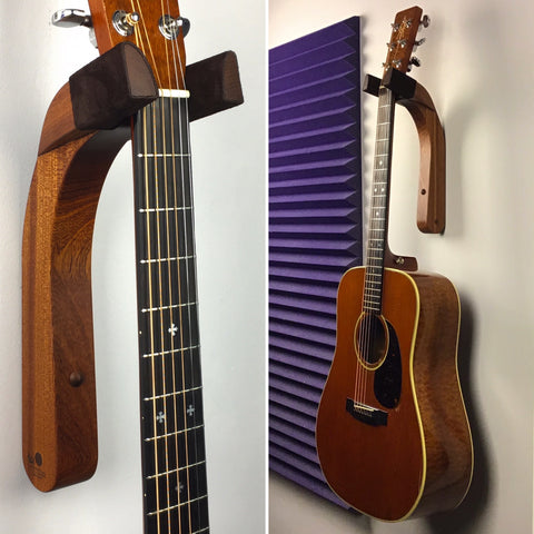 sapele wood guitar wall mount holder