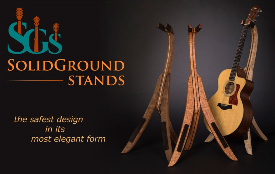 Solid Ground Stands - folding wood guitar stands