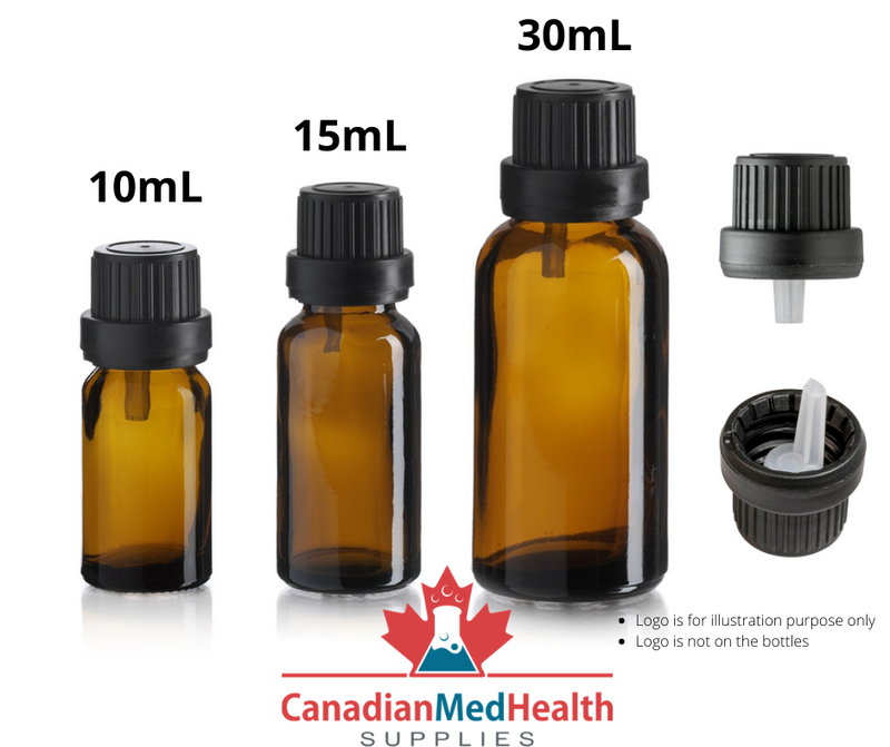 15mL Amber Essential Oil Bottle with Orifice Reducer and Tamper Evident Cap