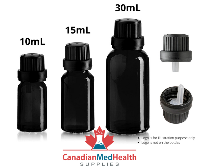 30mL Black Glass Essential Oil Bottle with Tamper Evident Cap and Orifice Reducer