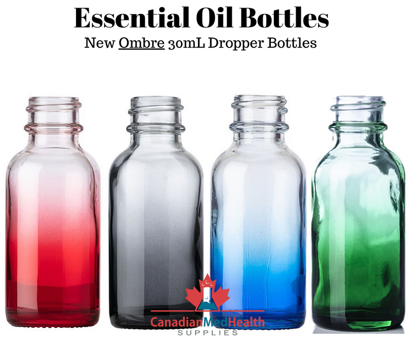 All 30ml Essential Oil Ombre Colored Bottles with Tamper Proof Cap and Orifice Reducer