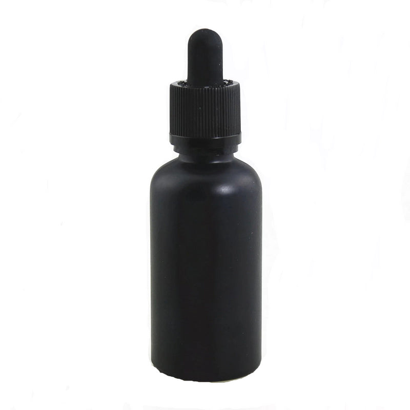 BULK ORDER 1oz (30mL) Satin Black Glass Dropper Bottle With Dropper - CanadianMedHealthSupplies
