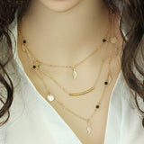 New Fashion Multi Layer Leaf Chain Necklaces 17km