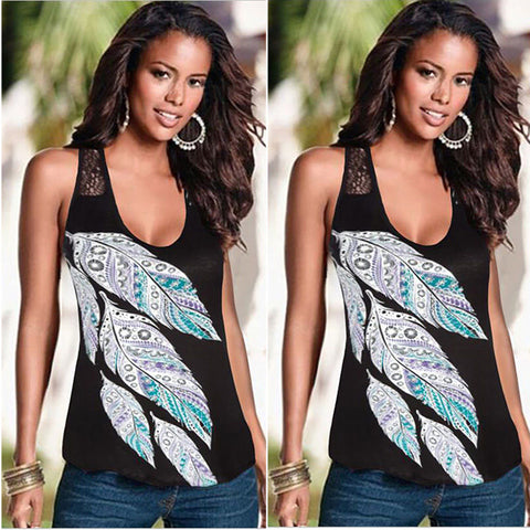 Sexy Low Cut Feather Print Crochet BlackTank Top