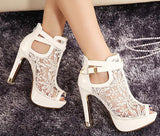 Lace Platform Pumps Sandals