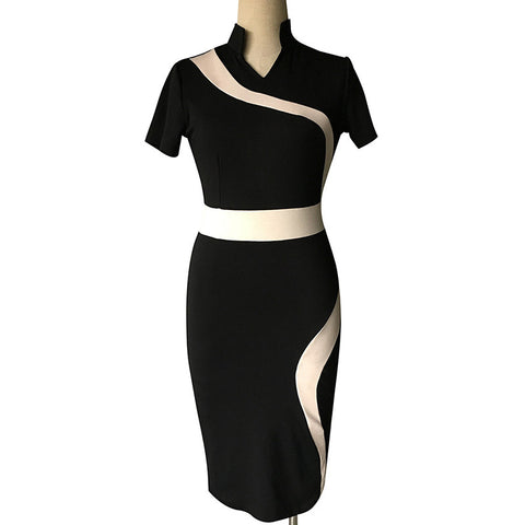 Classy Stand Collar Short Sleeve Knee Length Midi Pencil Dress