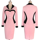 Business Dress-Solid V-Neck Full Sleeves Back Zip Bodycon Pencil Dress