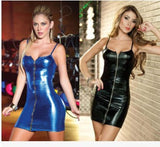 Strap Metal Zipper Woman Shiny Leather Skirt Teddy Club Costume Erotic Lingerie Sexy Underwear Thin Dress