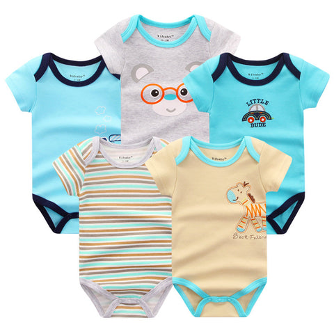 2017 New Arrival Summer 5 Pieces Newborn Baby Rompers Baby Clothing