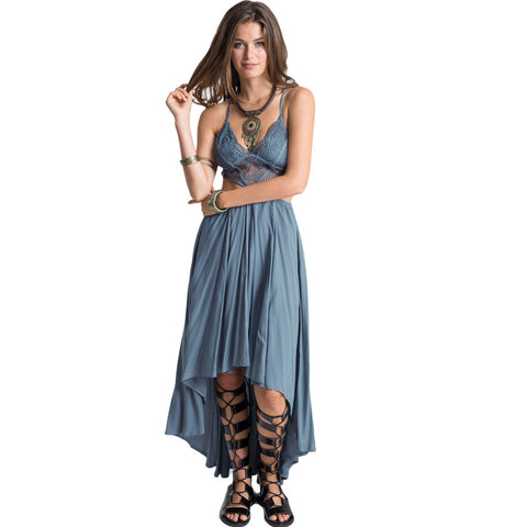 Hollow Out Maxi Dress Cross Strap Deep V-Neck Beach Boho