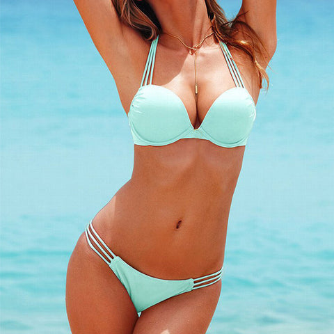 Latest Swimsuit Halter Cutout Brazilian Bikini Set