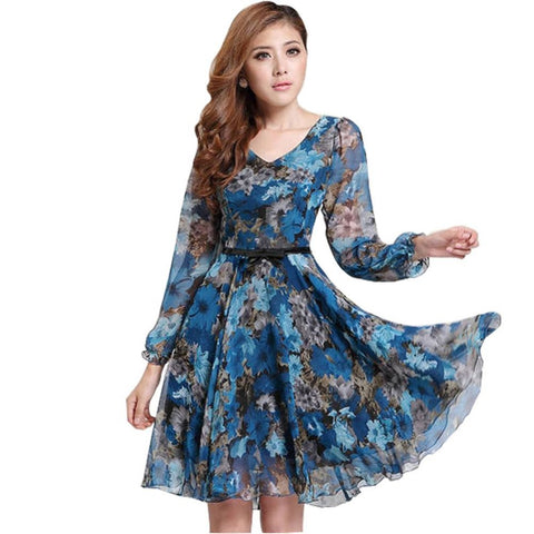 Floral Print Vintage Long Sleeve V Neck Chiffon Dress
