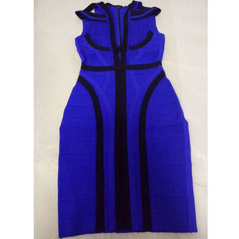 Royal blue geometric sexy deep v neck women summer Vestidos