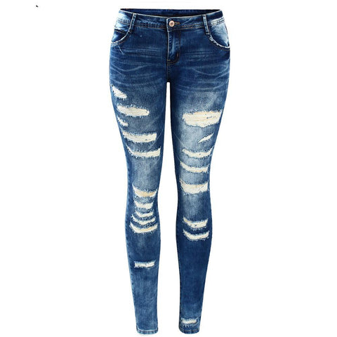 Low Rise Skinny Distressed Washed Stretch Denim